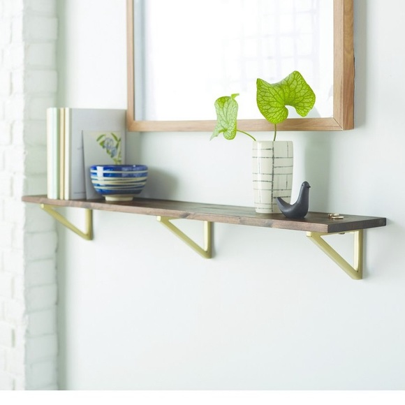 Set of 2 Threshold wood and brass wall shelves